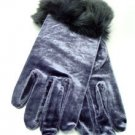 Grey Velvet Rabbit Fur Glove  1GLOVE2974