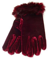 Wine Velvet Rabbit Fur Glove  1GLOVE2974