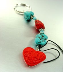 Turquoise Coral Lucite Beads Key Chain heart 1KC132173