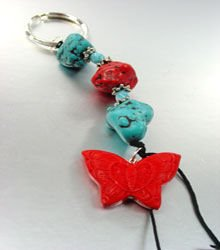 Turquoise Coral Lucite Beads Key Chain  butterfly 1KC132174