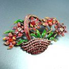Red Enamel Crystals in Flower Basket Brooch/Pin  1BP080743