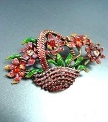 Red Enamel Crystals in Flower Basket Brooch/Pin  1BP080743
