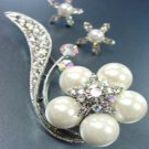 White faux Pearls Crystals Brooch Pin Set  1BP115830
