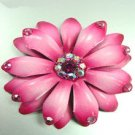 Hot Pink Crystals & Leather Flower Brooch 1BP4000579