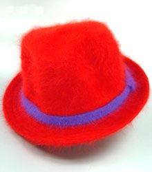 Red Angora Fur with Purple Band Hat 1HJA7025