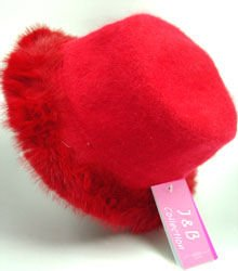 Red Angora with Rabbit Fur Trim Fashion Hat 10H400205