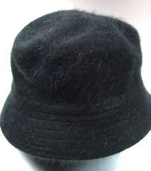 Black Angora Rabbit Fur Bucket Hat  1HTB365