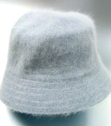 Blue Grey Angora Rabbit Fur Bucket Hat 1HTB365