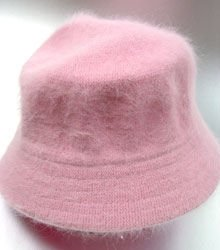 Light Pink Angora Rabbit Fur Bucket Hat
