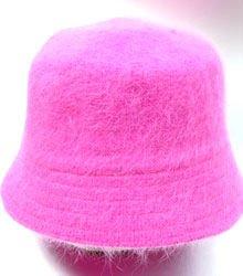 Hot Pink Angora Rabbit Fur Bucket Hat 1HTB365