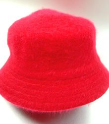 Red Angora Rabbit Fur Bucket Hat  1HTB365