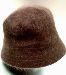 Brown Angora Rabbit Fur Bucket Hat  1HTB365