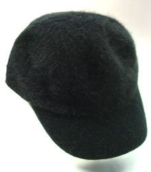 Black Angora Rabbit Fur messenger  Cap Hat 1HTB196