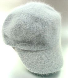 Blue Grey Angora Rabbit Fur  Messenger Cap Hat  1HTB196