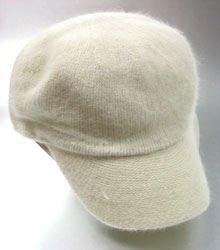 Winter White Angora Rabbit Fur Messenger Cap Hat 1HTB196