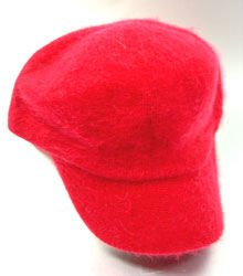 Red Angora Rabbit Fur Messenger Cap Hat  1HTB196