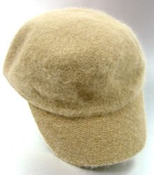 Beige Angora Rabbit Fur Messenger Cap Hat 1HTB196