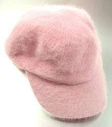 Light Pink Angora Rabbit Fur Messenger Cap Hat 1HTB196