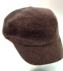 Brown Angora Rabbit Fur Messenger Cap Hat  1HTB196