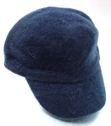 Navy Blue Angora Rabbit Fur Messenger Cap Hat  1HTB196