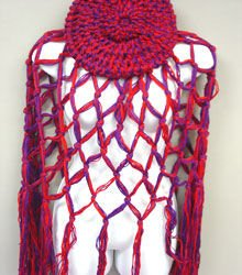 Red Purple Crochett Poncho & Tam Hat Set