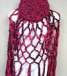 Pink Black Crochett Poncho & Tam Hat Set