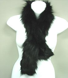 Black Genuine Fox Fur Scarf
