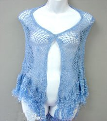 Hand-Knitted Blue Crochet Poncho Shawl