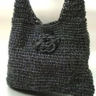Black Metallic Weave HoBo Satchel Bag  Handbag