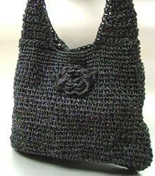 Black Metallic Weave HoBo Satchel Bag  Handbag
