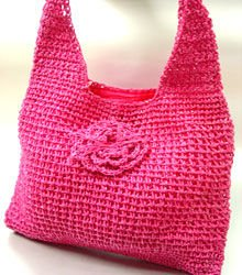 Hot Pink Metallic Weave HoBo Satchel Bag   Handbag