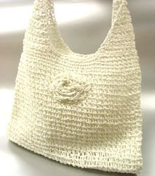 Winter White Metallic Weave HoBo Satchel Bag Handbag