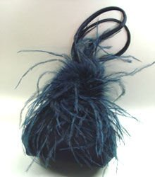 Navy Blue Satin Fru Fru Feathers Bag Handbag 1310