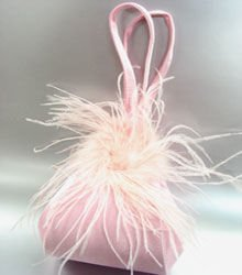 Pink Satin Fru Fru Feathers Bag   Handbag  1310