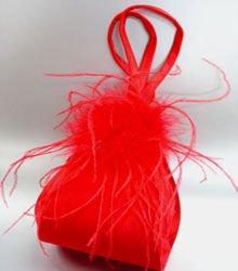 Red Satin Fru Fru Feathers Bag  Handbag  1310