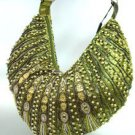 Olive Green Metallic Llame Beads Bag  Handbag   137024
