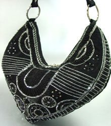 Black Satin Sequins Beads HoBo Handbag    137003