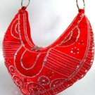 Red Satin Sequins Beads HoBo Bag  Handbag