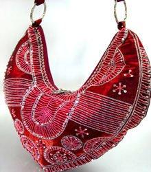 Wine Satin Sequins Beads HoBo Handbag   137003