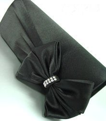 Black Satin & Crystals Evening Bag   Handbag   14000324