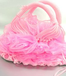 10x12 Pink Chiffon Rosettes Sash evening Bag handbag   1400084