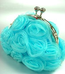 Blue Satin Chiffon Rosettes Evening Bag  Handbag  1400436