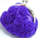 Purple Satin Chiffon Rosettes Evening Bag  Handbag
