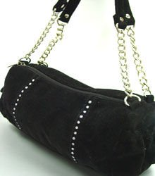Black Faux Suede Crystals Fashion Bag  Handbag 1400705