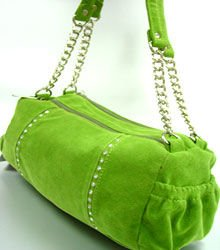 Green Faux Suede Crystals Bag Handbag 1400705