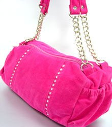 Pink Faux Suede Crystals Bag  Handbag  1400705