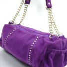 Purple Faux Suede Crystals Fashion Bag  Handbag 1400705