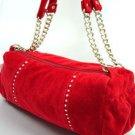 Red Faux Suede Crystals Fashion Bag Handbag 1400705