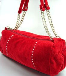 Red Faux Suede Crystals Fashion Bag Handbag 1400705