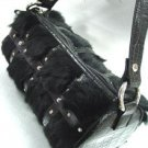 Black Genuine Rabbit Fur Black Bag Handbag